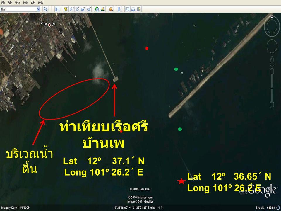 ร่องน้ำบริเวณทุ่นนำร่องมีความลึกโดยเฉลี่ย ๕ - ๖ เมตรจาก ( เครื่องหยั่งน้ำ ) ที่ระดับน้ำขึ้น ๒.