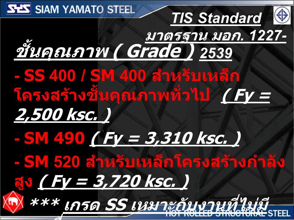 TIS Standard มาตรฐาน มอก. 1227- 2539 ชั้นคุณภาพ ( Grade ) - SS 400 / SM 400 สำหรับเหล็ก โครงสร้างชั้นคุณภาพทั่วไป ( Fy = 2,500 ksc. ) - SM 490 ( Fy =