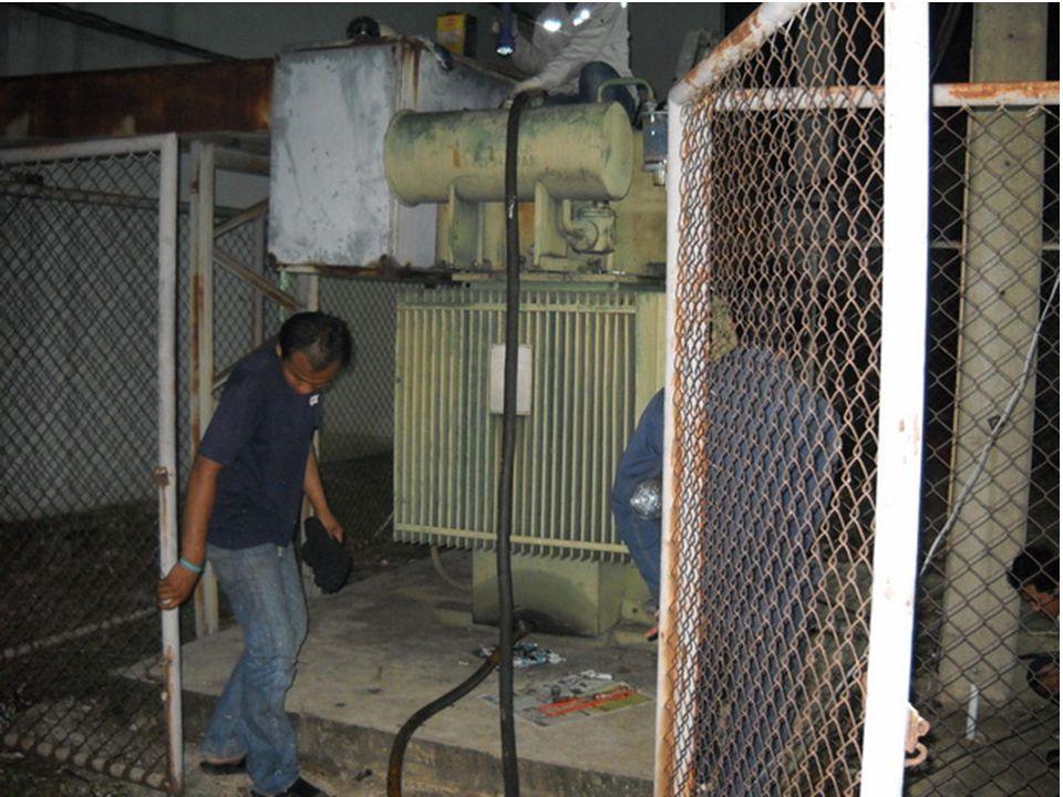 8. ตรวจสอบค่า BREAKDOWN น้ำมันหม้อ แปลงที่เปลี่ยนใหม่ได้ค่า BREAKDOWN อยู่ที่ 60 KV