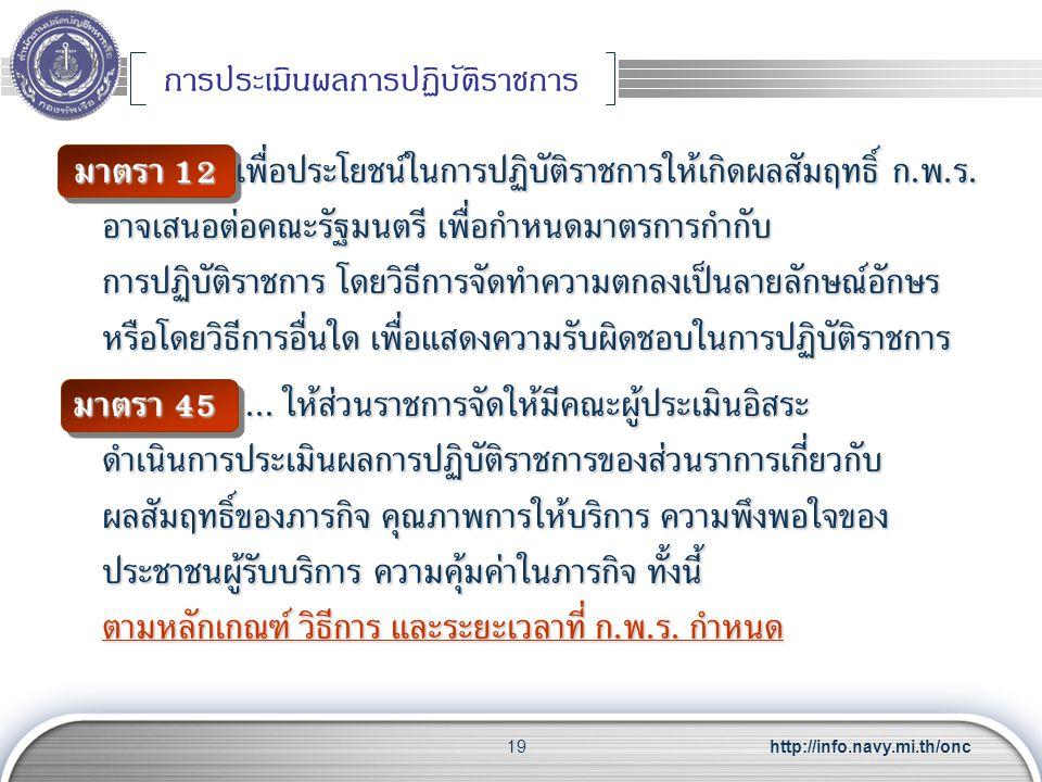 http://info.navy.mi.th/onc19 การประเมินผลการปฏิบัติราชการ มาตรา 12 เพื่อประโยชน์ในการปฏิบัติราชการให้เกิดผลสัมฤทธิ์ ก. พ. ร. อาจเสนอต่อคณะรัฐมนตรี เพื
