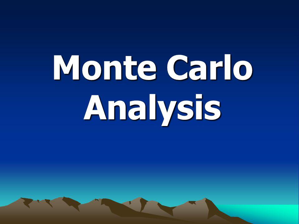Monte carlo analysis คือ เทคนิคการ วิเคราะห์ของมอนติคาร์โล เป็นวิธีที่เน้นกระบวนการทางสถิติเพื่อการวิจัยใน สิ่งที่สัมพันธ์กับความเป็นไปได้ของสิ่งที่จะ เกิดขึ้นที่ได้จัดลำดับก่อนหลังไว้แล้ว