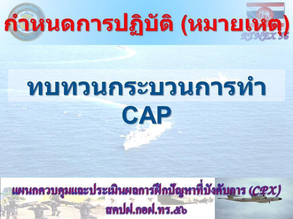 กำหนดการปฏิบัติ ( หมายเหตุ ) ทบทวนกระบวนการทำ CAP