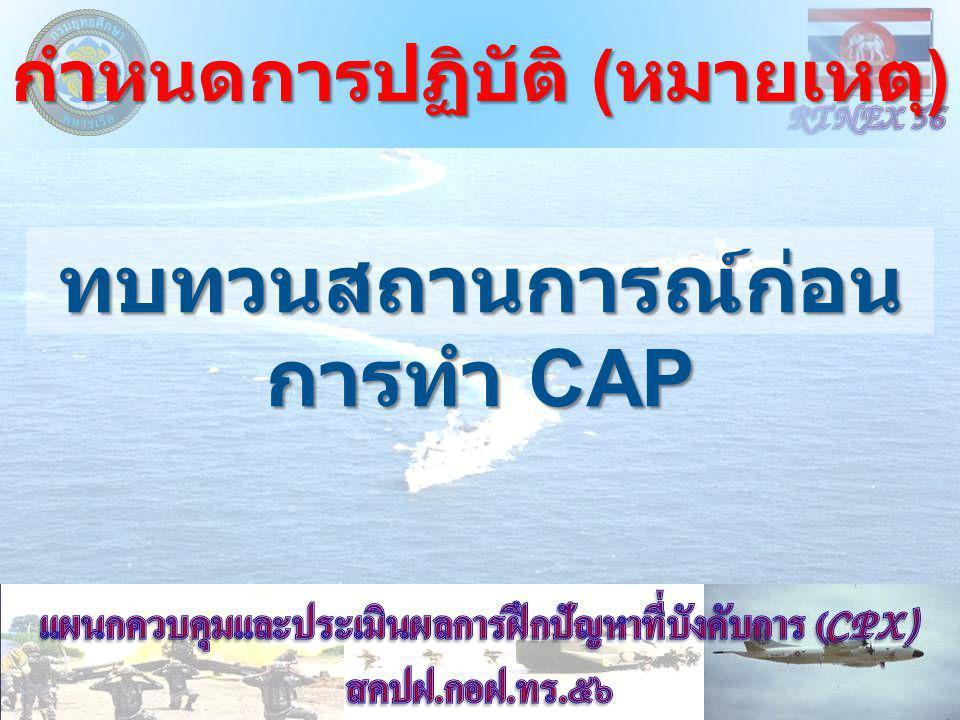 กำหนดการปฏิบัติ ( หมายเหตุ ) ทบทวนสถานการณ์ก่อน การทำ CAP