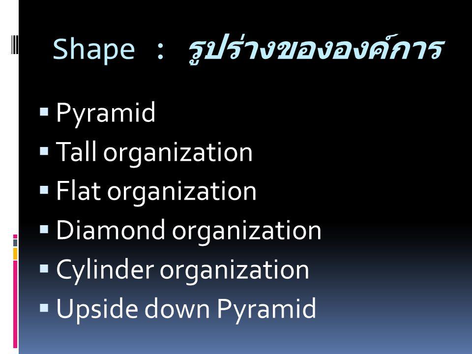 Shape : รูปร่างขององค์การ  Pyramid  Tall organization  Flat organization  Diamond organization  Cylinder organization  Upside down Pyramid
