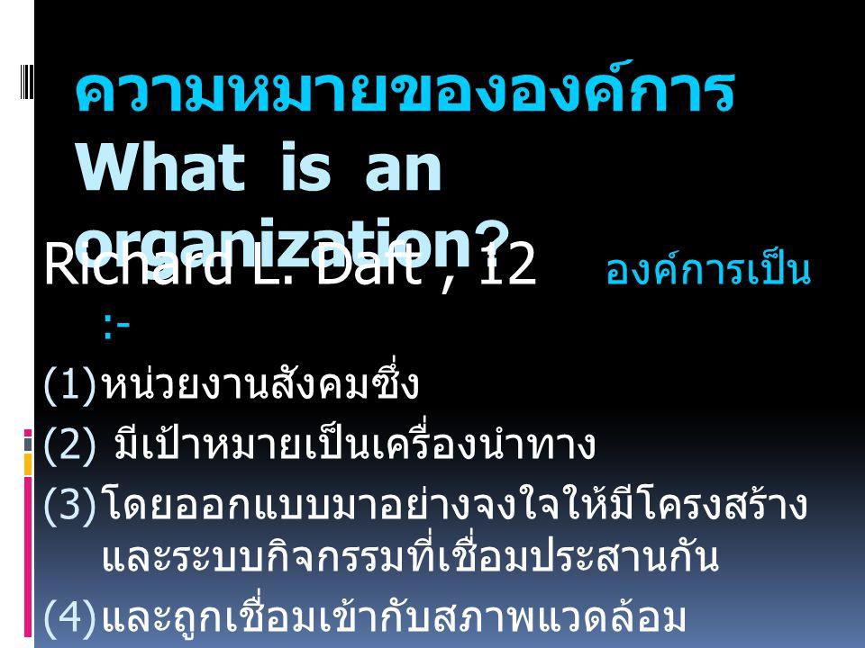ความหมายขององค์การ What is an organization.Richard L.