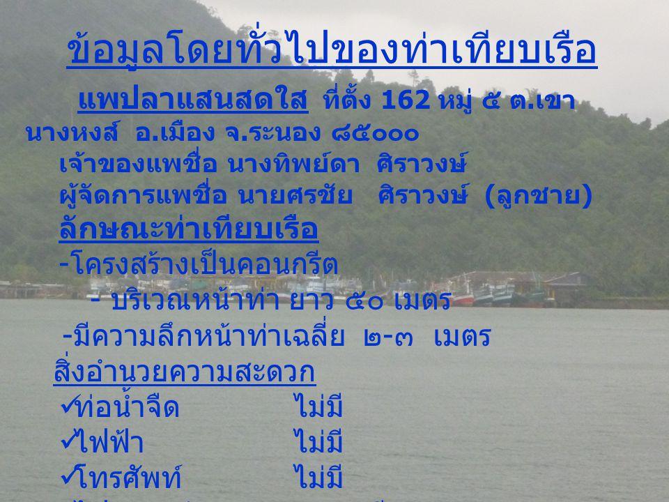 ข้อมูลโดยทั่วไปของท่าเทียบเรือ แพปลาแสนสดใส ที่ตั้ง 162 หมู่ ๕ ต. เขา นางหงส์ อ. เมือง จ. ระนอง ๘๕๐๐๐ เจ้าของแพชื่อ นางทิพย์ดา ศิราวงษ์ ผู้จัดการแพชื่