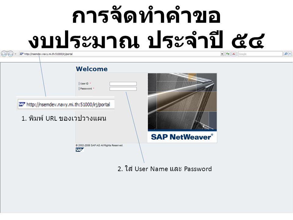 1. พิมพ์ URL ของเวปวางแผน 2. ใส่ User Name และ Password การจัดทำคำขอ งบประมาณ ประจำปี ๕๔