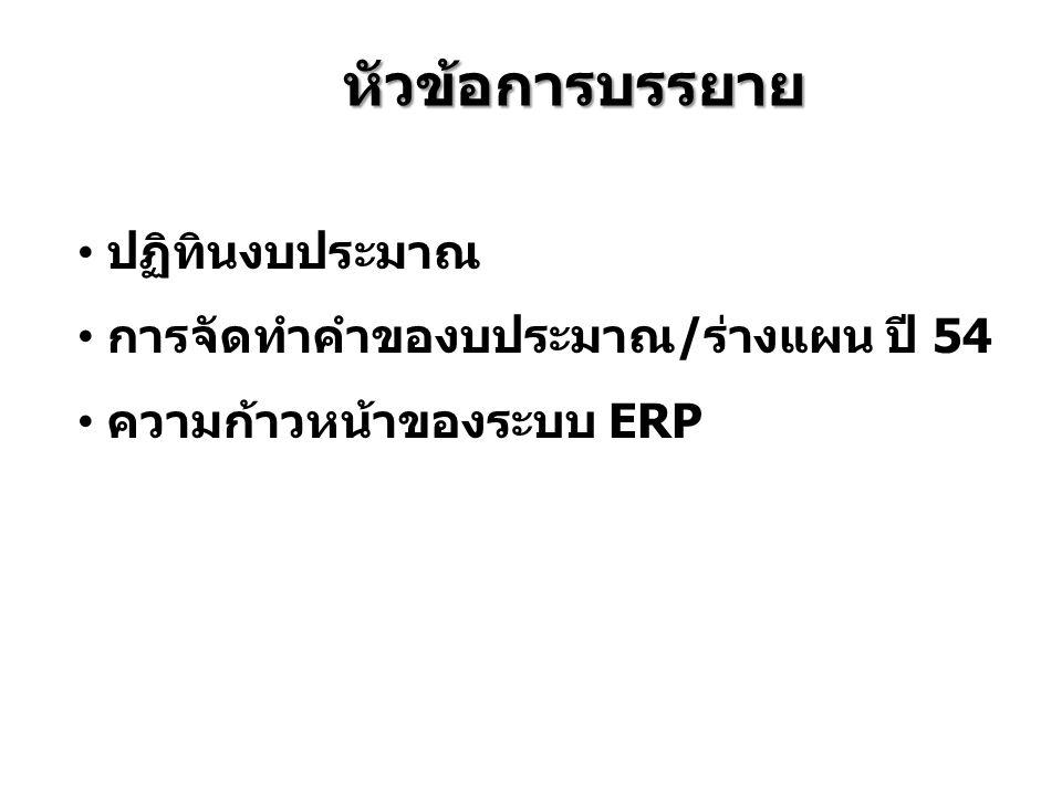 หัวข้อการบรรยาย ปฏิทินงบประมาณ การจัดทำคำของบประมาณ/ร่างแผน ปี 54 ความก้าวหน้าของระบบ ERP