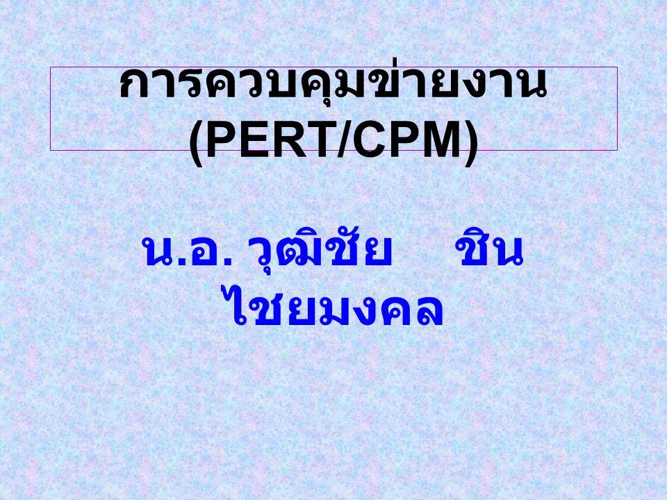 การควบคุมข่ายงาน (PERT/CPM) น. อ. วุฒิชัย ชิน ไชยมงคล