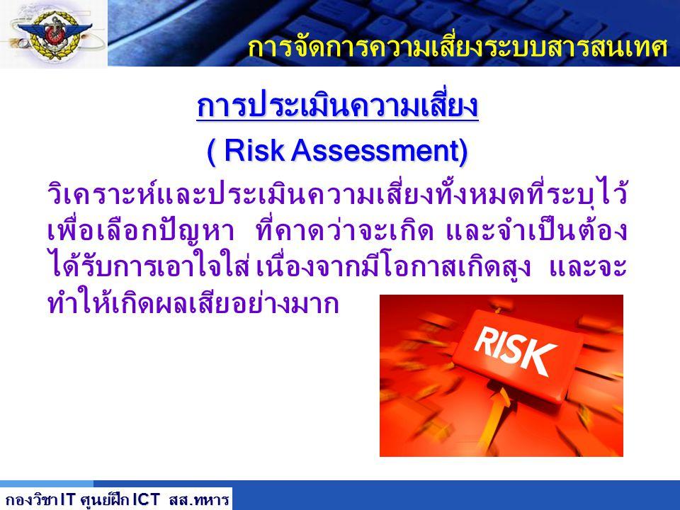 LOGO การจัดการความเสี่ยงระบบสารสนเทศ การประเมินความเสี่ยง ( Risk Assessment) กองวิชา IT ศูนย์ฝึก ICT สส. ทหาร