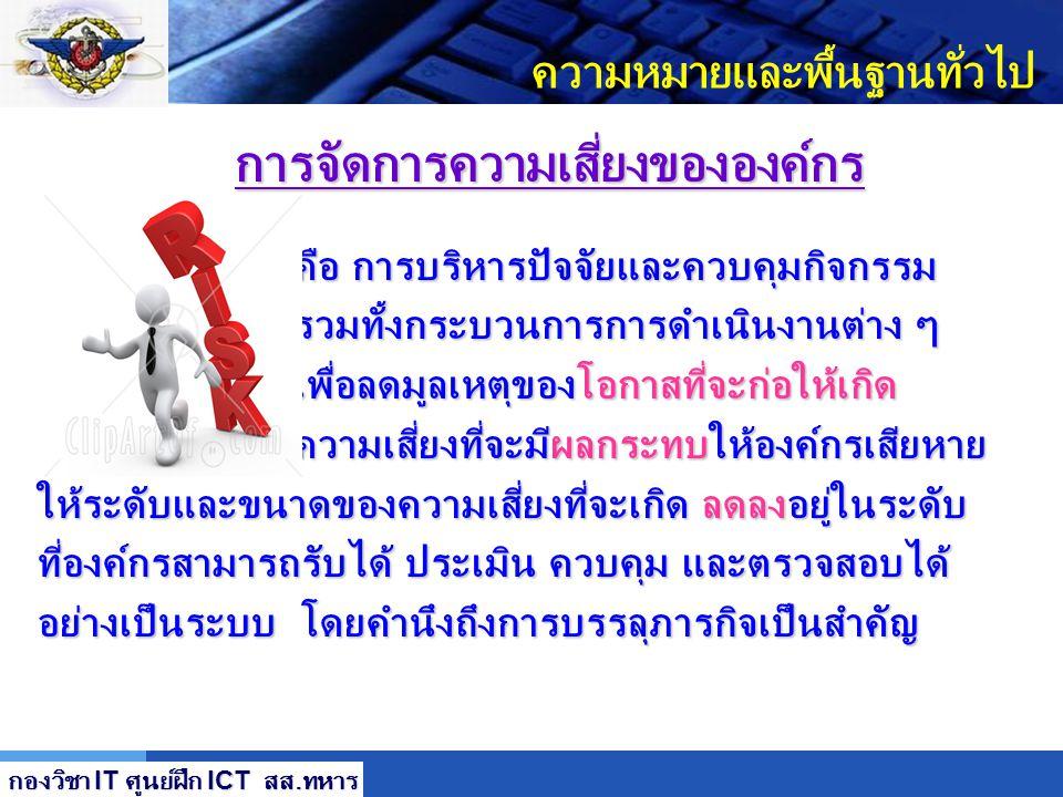 LOGO เนื้อหาการอบรม 6 7 8 กรณีศึกษา : การรักษาความปลอดภัยระบบสารสนเทศ บก.ทท. 9 Workshop : การรักษาความปลอดภัยระบบสารสนเทศเบื้องต้น กองวิชา IT ศูนย์ฝึก