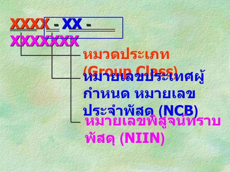 หมวดประเภท (Group Class) หมายเลขประเทศผู้ กำหนด หมายเลข ประจำพัสดุ (NCB) หมายเลขพิสูจน์ทราบ พัสดุ (NIIN) XXXX - XX - XXXXXXX