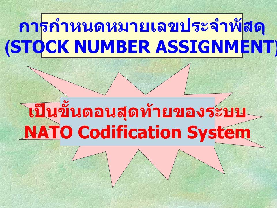 การกำหนดหมายเลขประจำพัสดุ (STOCK NUMBER ASSIGNMENT) เป็นขั้นตอนสุดท้ายของระบบ NATO Codification System