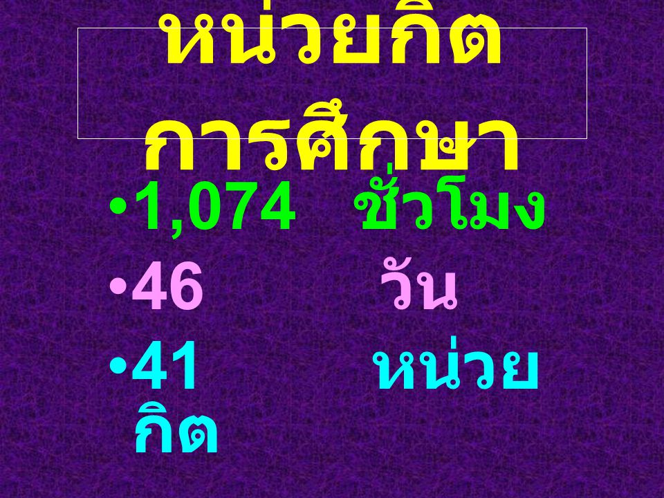 หน่วยกิต การศึกษา 1,074 ชั่วโมง 46 วัน 41 หน่วย กิต