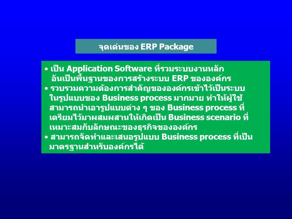 จุดเด่นของ ERP Package เป็น Application Software ที่รวมระบบงานหลัก อันเป็นพื้นฐานของการสร้างระบบ ERP ขององค์กร รวบรวมความต้องการสำคัญขององค์กรเข้าไว้เป็นระบบ ในรูปแบบของ Business process มากมาย ทำให้ผู้ใช้ สามารถนำเอารูปแบบต่าง ๆ ของ Business process ที่ เตรียมไว้มาผสมผสานให้เกิดเป็น Business scenario ที่ เหมาะสมกับลักษณะของธุรกิจขององค์กร สามารถจัดทำและเสนอรูปแบบ Business process ที่เป็น มาตรฐานสำหรับองค์กรได้