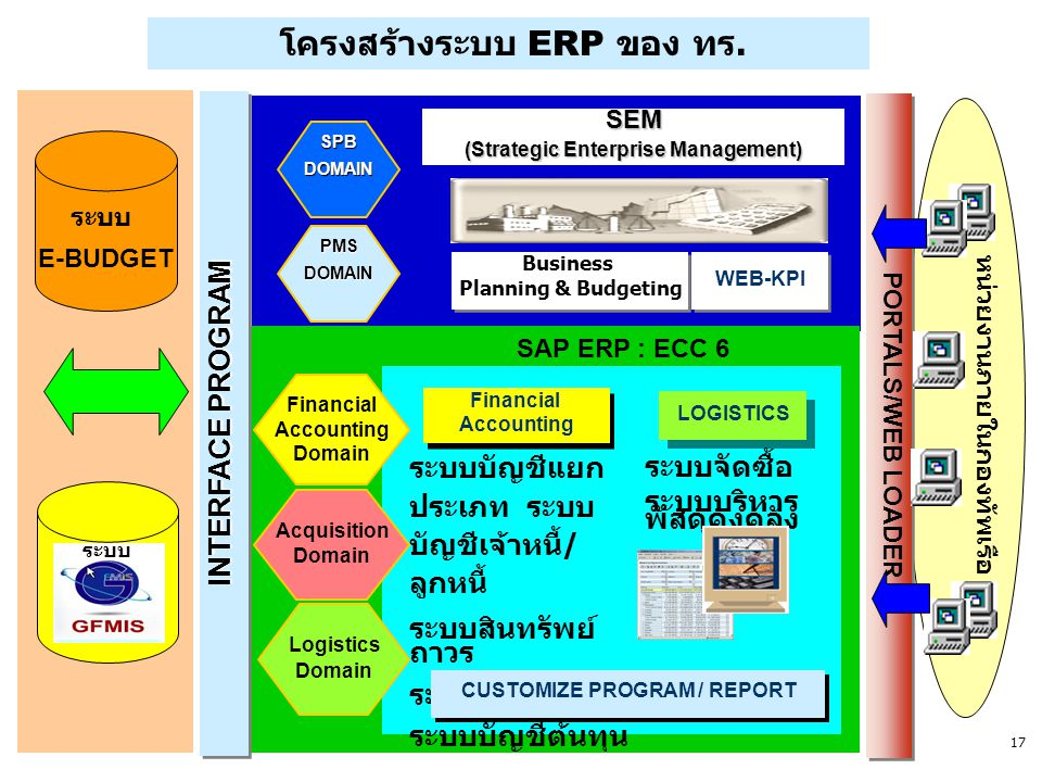 SPBDOMAIN Business Planning & Budgeting Business Planning & Budgeting WEB-KPI SEM (Strategic Enterprise Management) 17 SAP ERP : ECC 6 LOGISTICS Finan