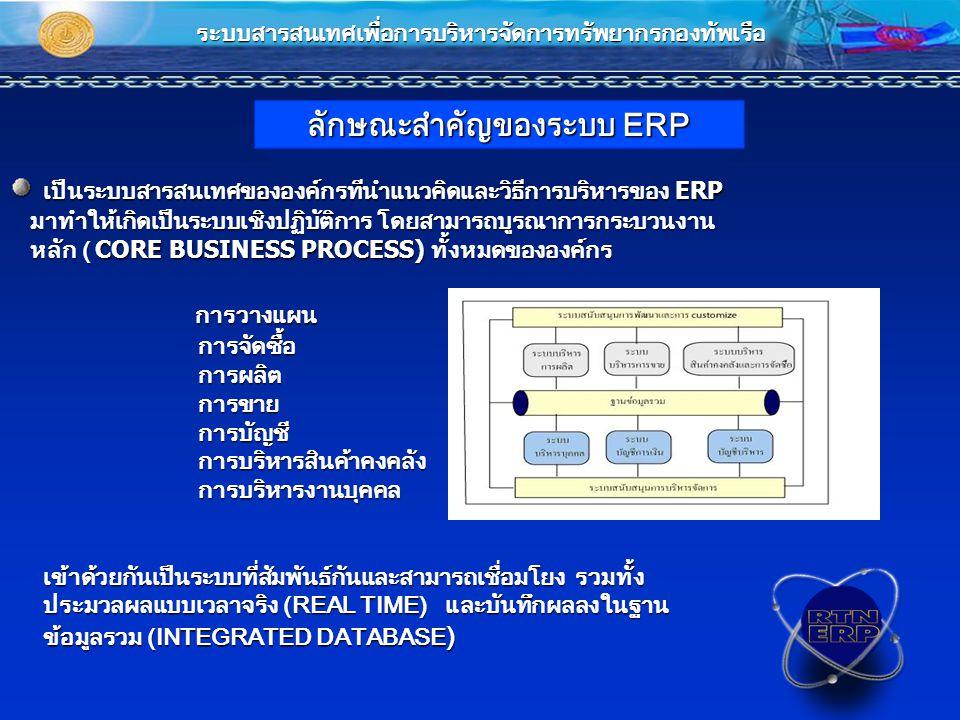 เป็นระบบสารสนเทศขององค์กรทีนำแนวคิดและวิธีการบริหารของ ERP เป็นระบบสารสนเทศขององค์กรทีนำแนวคิดและวิธีการบริหารของ ERP มาทำให้เกิดเป็นระบบเชิงปฏิบัติการ โดยสามารถบูรณาการกระบวนงาน มาทำให้เกิดเป็นระบบเชิงปฏิบัติการ โดยสามารถบูรณาการกระบวนงาน หลัก ( CORE BUSINESS PROCESS) ทั้งหมดขององค์กร หลัก ( CORE BUSINESS PROCESS) ทั้งหมดขององค์กร การวางแผน การวางแผน การจัดซื้อ การจัดซื้อ การผลิต การผลิต การขาย การขาย การบัญชี การบัญชี การบริหารสินค้าคงคลัง การบริหารสินค้าคงคลัง การบริหารงานบุคคล การบริหารงานบุคคล เข้าด้วยกันเป็นระบบที่สัมพันธ์กันและสามารถเชื่อมโยง รวมทั้ง เข้าด้วยกันเป็นระบบที่สัมพันธ์กันและสามารถเชื่อมโยง รวมทั้ง ประมวลผลแบบเวลาจริง (REAL TIME) และบันทึกผลลงในฐาน ประมวลผลแบบเวลาจริง (REAL TIME) และบันทึกผลลงในฐาน ข้อมูลรวม (INTEGRATED DATABASE ) ข้อมูลรวม (INTEGRATED DATABASE ) ระบบสารสนเทศเพื่อการบริหารจัดการทรัพยากรกองทัพเรือ ลักษณะสำคัญของระบบ ERP
