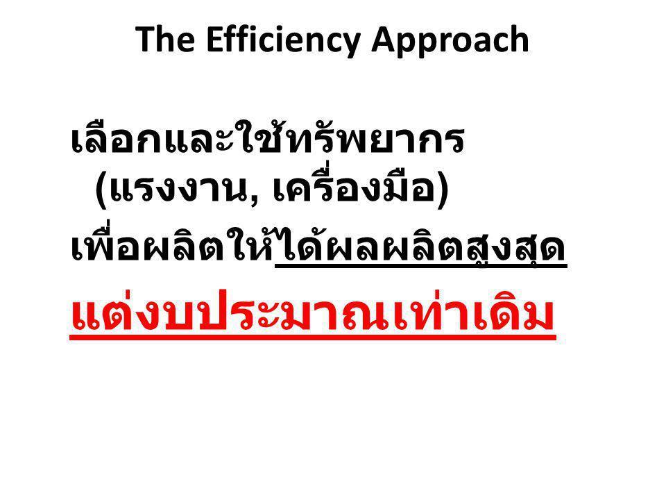 The Efficiency Approach เลือกและใช้ทรัพยากร ( แรงงาน, เครื่องมือ ) เพื่อผลิตให้ได้ผลผลิตสูงสุด แต่งบประมาณเท่าเดิม
