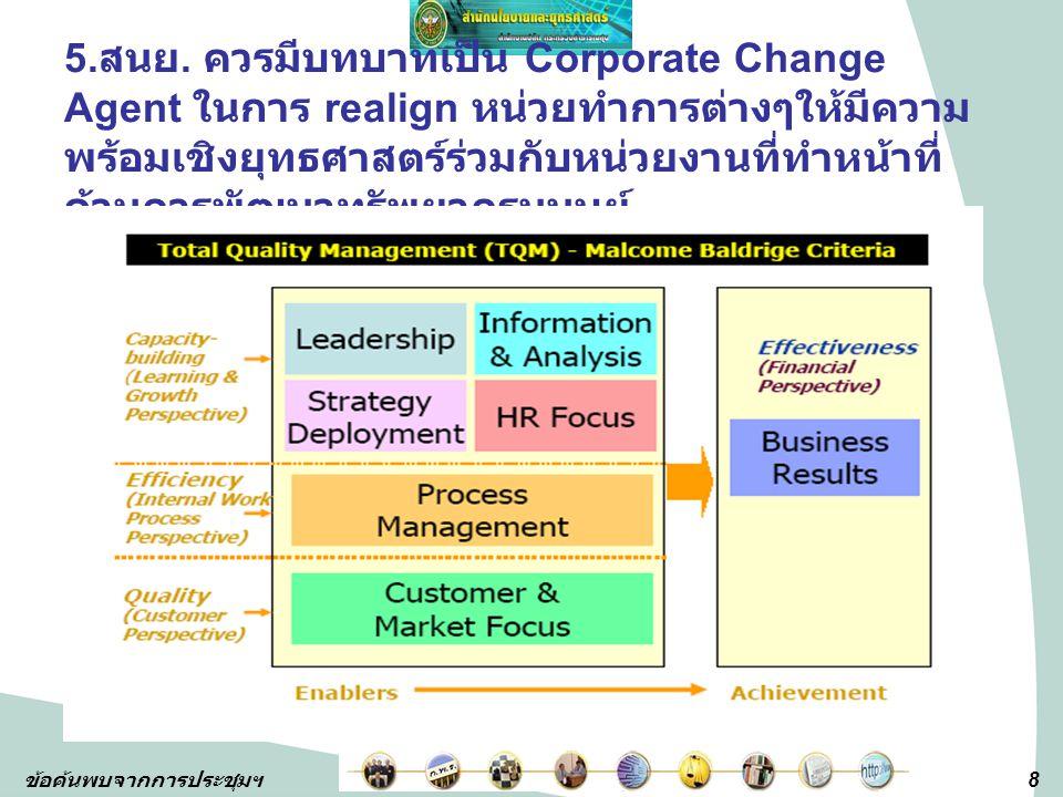 8 ข้อค้นพบจากการประชุมฯ 5. สนย. ควรมีบทบาทเป็น Corporate Change Agent ในการ realign หน่วยทำการต่างๆให้มีความ พร้อมเชิงยุทธศาสตร์ร่วมกับหน่วยงานที่ทำหน