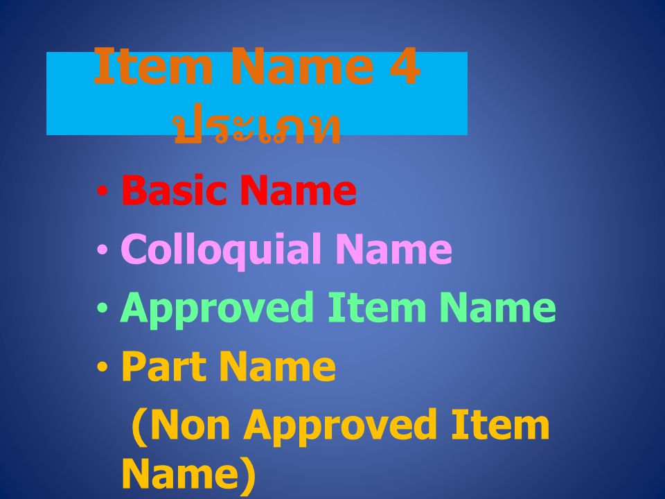 Item Name 4 ประเภท Basic Name Colloquial Name Approved Item Name Part Name (Non Approved Item Name)
