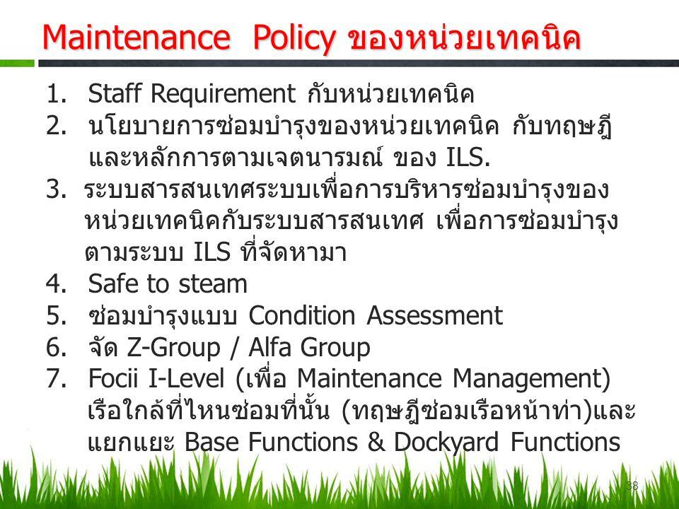Maintenance Policy ของหน่วยเทคนิค 1.Staff Requirement กับหน่วยเทคนิค 2.นโยบายการซ่อมบำรุงของหน่วยเทคนิค กับทฤษฎี และหลักการตามเจตนารมณ์ ของ ILS. 3.ระบ