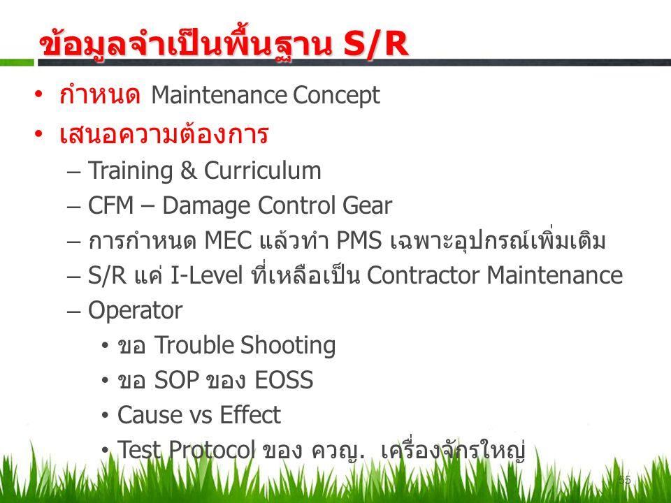 กำหนด Maintenance Concept เสนอความต้องการ – Training & Curriculum – CFM – Damage Control Gear – การกำหนด MEC แล้วทำ PMS เฉพาะอุปกรณ์เพิ่มเติม – S/R แค่ I-Level ที่เหลือเป็น Contractor Maintenance – Operator ขอ Trouble Shooting ขอ SOP ของ EOSS Cause vs Effect Test Protocol ของ ควญ.