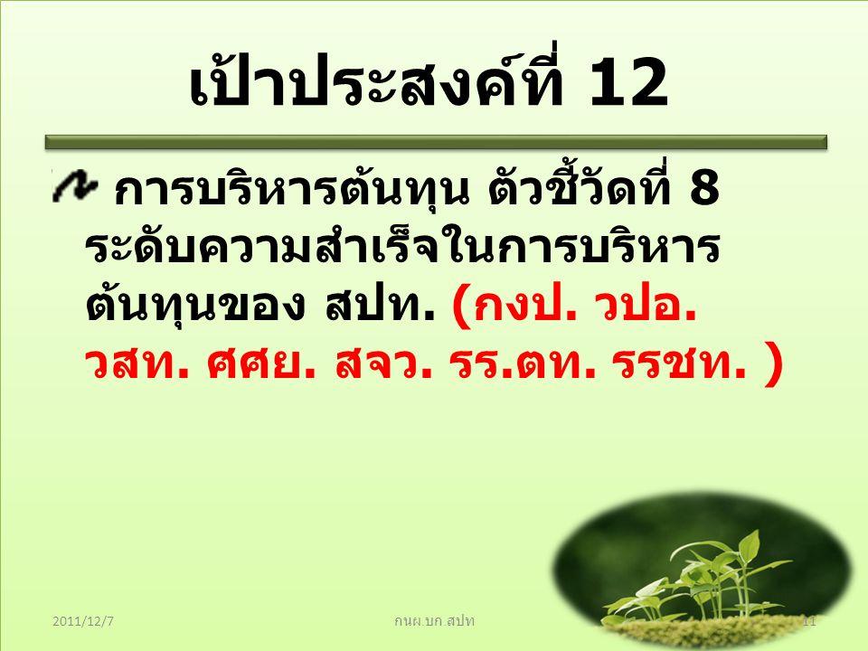 เป้าประสงค์ที่ 12 การบริหารต้นทุน ตัวชี้วัดที่ 8 ระดับความสำเร็จในการบริหาร ต้นทุนของ สปท. ( กงป. วปอ. วสท. ศศย. สจว. รร. ตท. รรชท. ) 2011/12/7 กนผ. บ