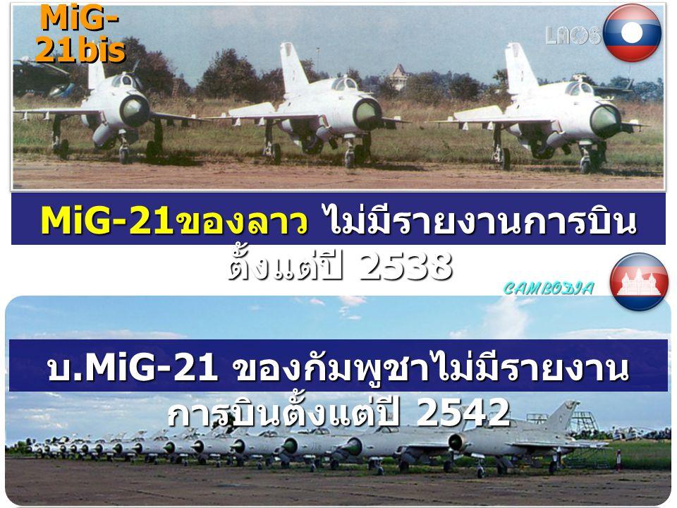 MiG- 21bis MiG-21 ของลาว ไม่มีรายงานการบิน ตั้งแต่ปี 2538 บ.MiG-21 ของกัมพูชาไม่มีรายงาน การบินตั้งแต่ปี 2542