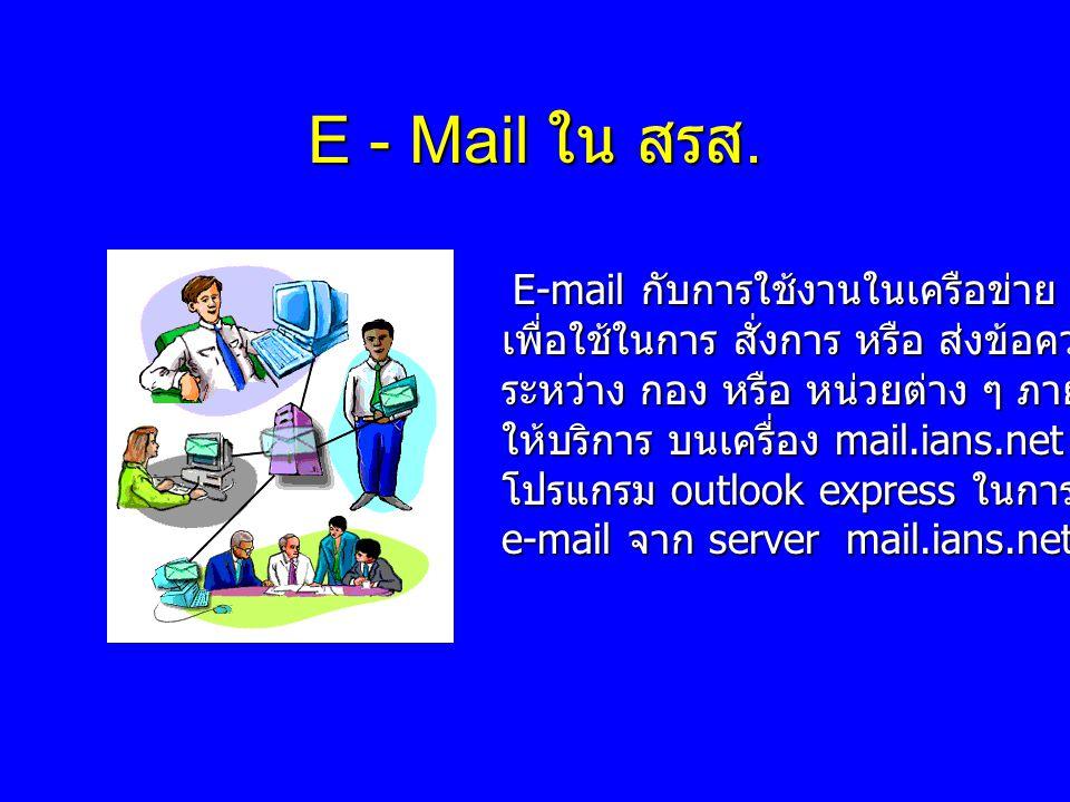 E - Mail ใน สรส. E-mail กับการใช้งานในเครือข่าย ians.net E-mail กับการใช้งานในเครือข่าย ians.net เพื่อใช้ในการ สั่งการ หรือ ส่งข้อความถึงกัน ระหว่าง ก