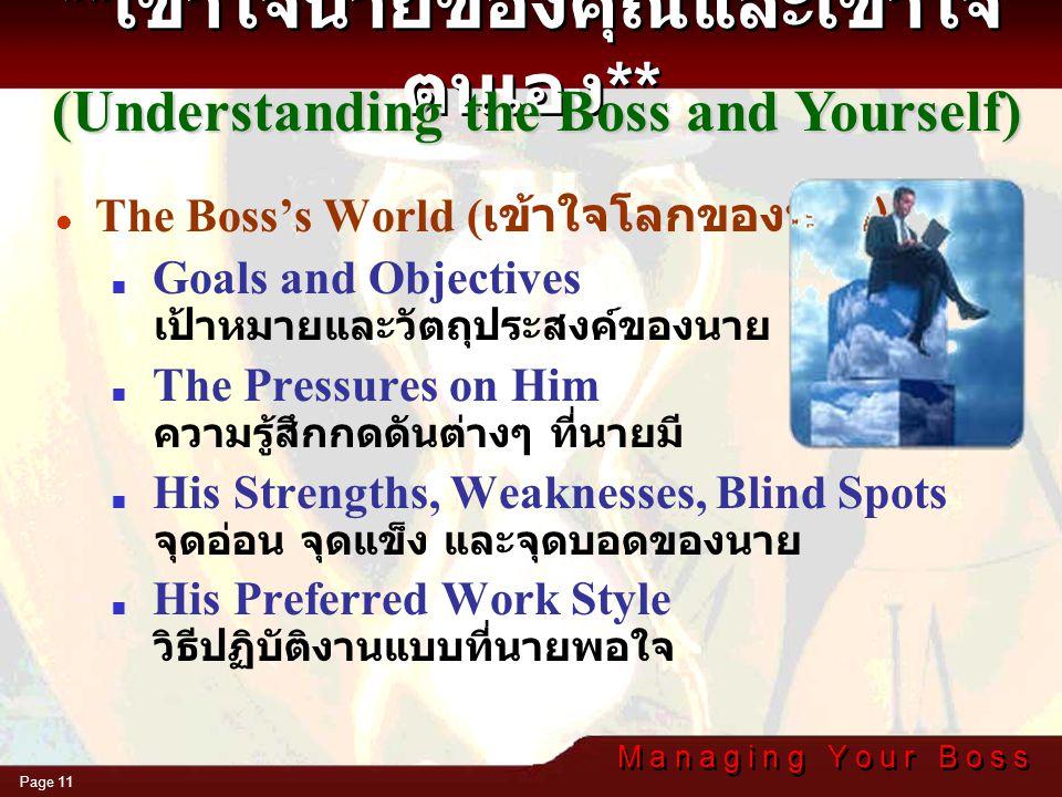 M a n a g i n g Y o u r B o s s Page 10 Make sure you understand your boss and his context ให้แน่ใจว่าคุณเข้าใจตัวของนายและ ความหมาย ที่นายต้องการสื่อ