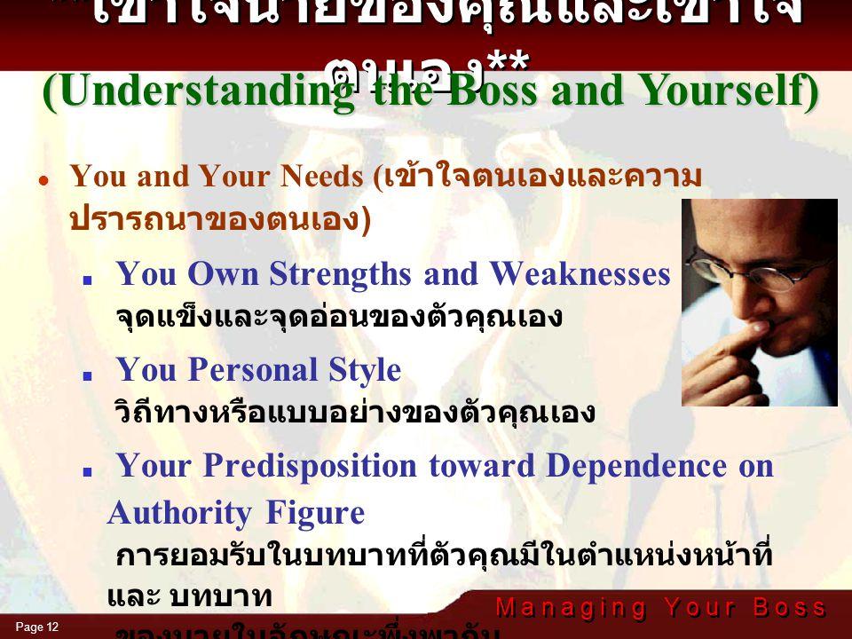 M a n a g i n g Y o u r B o s s Page 11 The Boss's World ( เข้าใจโลกของนาย )  Goals and Objectives เป้าหมายและวัตถุประสงค์ของนาย  The Pressures on H