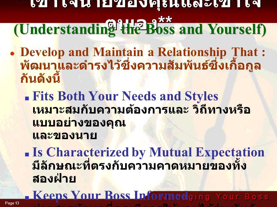 M a n a g i n g Y o u r B o s s Page 12 You and Your Needs ( เข้าใจตนเองและความ ปรารถนาของตนเอง )  You Own Strengths and Weaknesses จุดแข็งและจุดอ่อน
