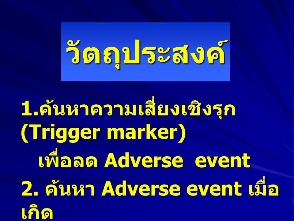 วัตถุประสงค์ 1. ค้นหาความเสี่ยงเชิงรุก (Trigger marker) เพื่อลด Adverse event เพื่อลด Adverse event 2. ค้นหา Adverse event เมื่อ เกิด ภาวะแทรกซ้อน ภาว
