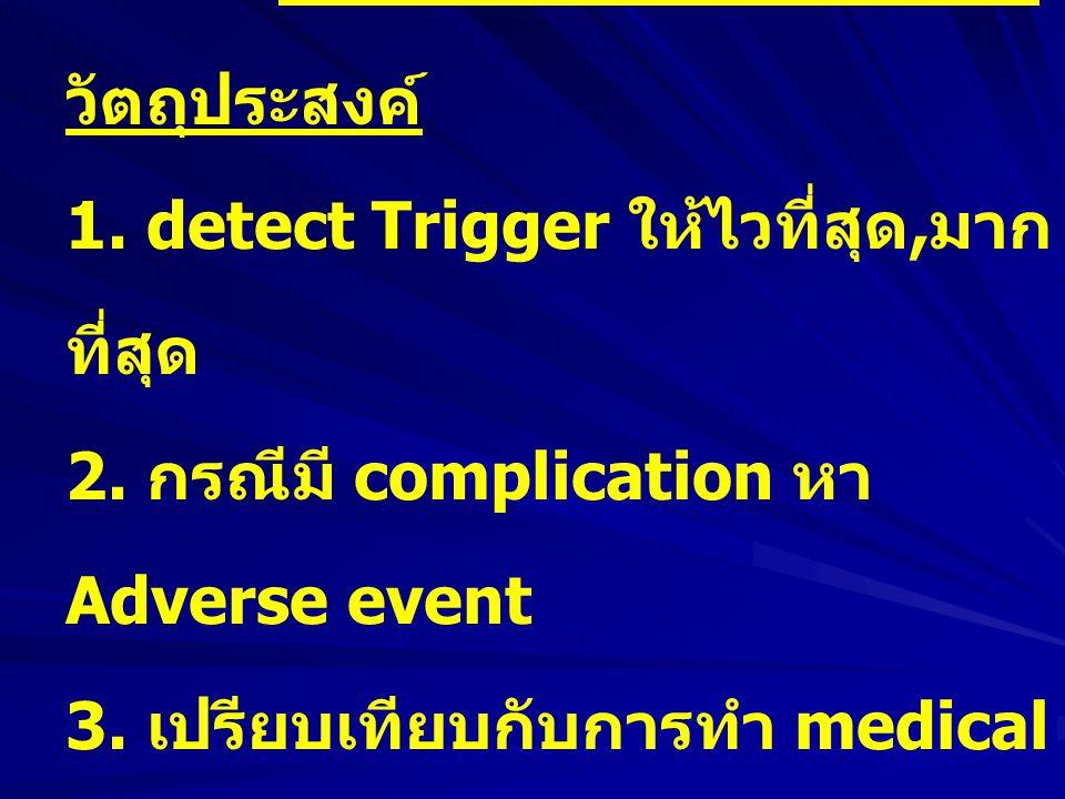 Ward 303 พัฒนาต่อ วัตถุประสงค์ 1. detect Trigger ให้ไวที่สุด, มาก ที่สุด 2. กรณีมี complication หา Adverse event 3. เปรียบเทียบกับการทำ medical record