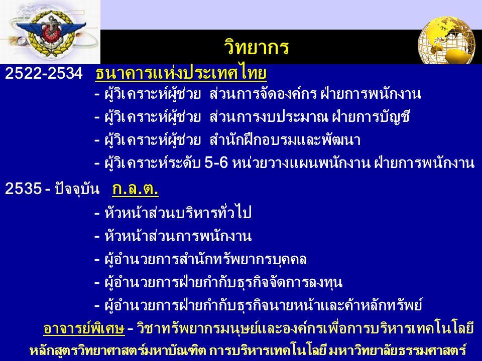LOGO วิทยากร ธนาคารแห่งประเทศไทย 2522-2534 ธนาคารแห่งประเทศไทย - ผู้วิเคราะห์ผู้ช่วย ส่วนการจัดองค์กร ฝ่ายการพนักงาน - ผู้วิเคราะห์ผู้ช่วย ส่วนการงบประมาณ ฝ่ายการบัญชี - ผู้วิเคราะห์ผู้ช่วย สำนักฝึกอบรมและพัฒนา - ผู้วิเคราะห์ระดับ 5-6 หน่วยวางแผนพนักงาน ฝ่ายการพนักงาน ก.ล.ต.