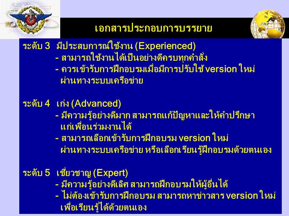 LOGO เอกสารประกอบการบรรยาย ระดับ 3 มีประสบการณ์ใช้งาน (Experienced) - สามารถใช้งานได้เป็นอย่างดีครบทุกคำสั่ง - ควรเข้ารับการฝึกอบรมเมื่อมีการปรับใช้ version ใหม่ ผ่านทางระบบเครือข่าย ระดับ 4 เก่ง (Advanced) - มีความรู้อย่างดีมาก สามารถแก้ปัญหาและให้คำปรึกษา แก่เพื่อนร่วมงานได้ - สามารถเลือกเข้ารับการฝึกอบรม version ใหม่ ผ่านทางระบบเครือข่าย หรือเลือกเรียนรู้ฝึกอบรมด้วยตนเอง ระดับ 5 เชี่ยวชาญ (Expert) - มีความรู้อย่างดีเลิศ สามารถฝึกอบรมให้ผู้อื่นได้ - ไม่ต้องเข้ารับการฝึกอบรม สามารถหาข่าวสาร version ใหม่ เพื่อเรียนรู้ได้ด้วยตนเอง