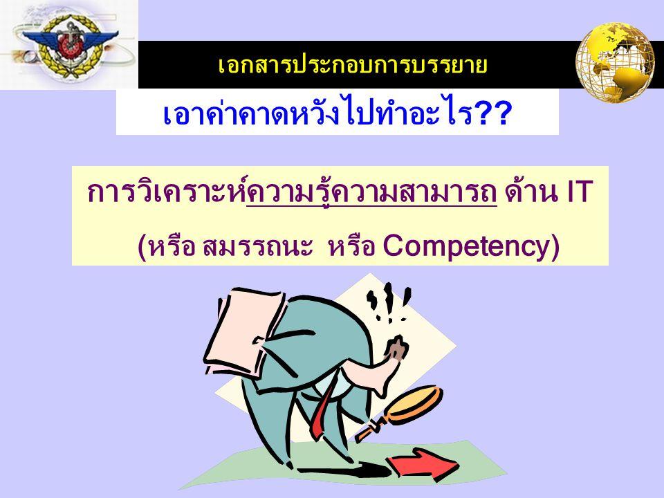 LOGO เอกสารประกอบการบรรยาย การวิเคราะห์ความรู้ความสามารถ ด้าน IT (หรือ สมรรถนะ หรือ Competency) เอาค่าคาดหวังไปทำอะไร ??