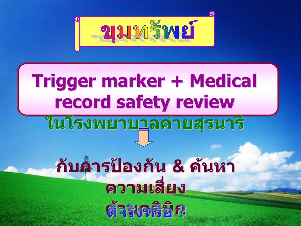 Trigger marker + Medical record safety review ในโรงพยาบาลค่ายสุรนารี กับการป้องกัน & ค้นหา ความเสี่ยง ด้านคลินิก