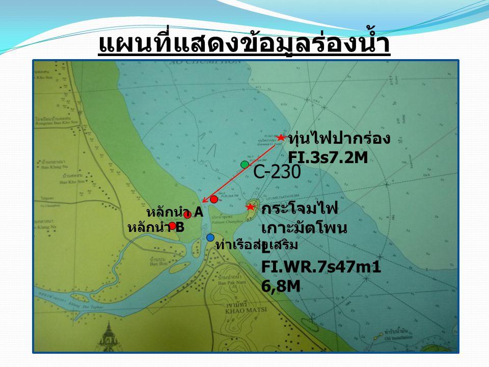 แผนที่แสดงข้อมูลร่องน้ำ ทุ่นไฟปากร่อง FI.3s7.2M หลักนำ A หลักนำ B C-230 กระโจมไฟ เกาะมัตโพน L FI.WR.7s47m1 6,8M ท่าเรือส่งเสริม