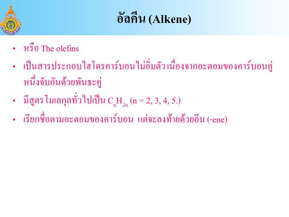 หรือ The olefins เป็นสารประกอบไฮโดรคาร์บอนไม่อิ่มตัว เนื่องจากอะตอมของคาร์บอนคู่ หนึ่งจับกันด้วยพันธะคู่ มีสูตรโมเลกุลทั่วไปเป็น C n H 2n (n = 2, 3, 4, 5.) เรียกชื่อตามอะตอมของคาร์บอน แต่จะลงท้ายด้วยอีน (-ene) อัลคีน (Alkene)