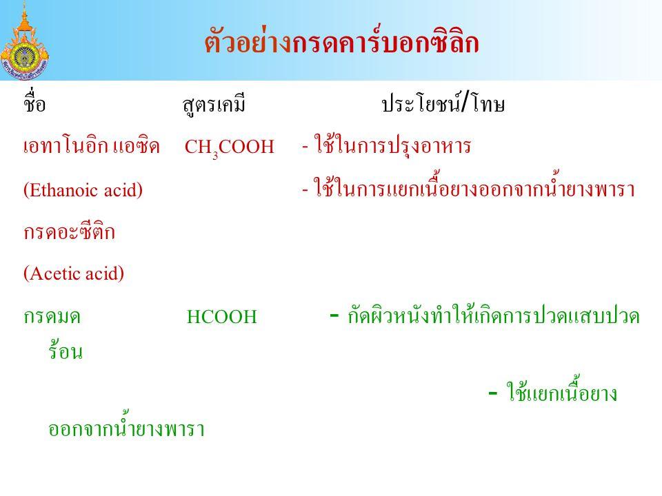 ชื่อ สูตรเคมี ประโยชน์/โทษ เอทาโนอิก แอซิด CH 3 COOH - ใช้ในการปรุงอาหาร (Ethanoic acid) - ใช้ในการแยกเนื้อยางออกจากน้ำยางพารา กรดอะซีติก (Acetic acid) กรดมด HCOOH - กัดผิวหนังทำให้เกิดการปวดแสบปวด ร้อน - ใช้แยกเนื้อยาง ออกจากน้ำยางพารา ตัวอย่างกรดคาร์บอกซิลิก