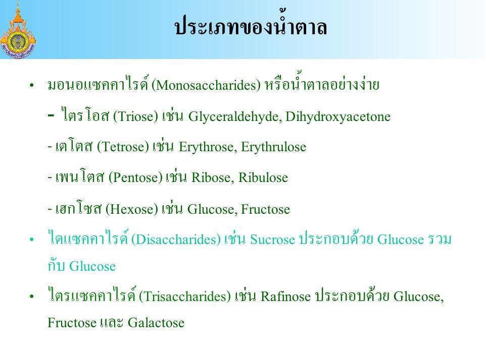 มอนอแซคคาไรด์ (Monosaccharides) หรือน้ำตาลอย่างง่าย - ไตรโอส (Triose) เช่น Glyceraldehyde, Dihydroxyacetone - เตโตส (Tetrose) เช่น Erythrose, Erythrulose - เพนโตส (Pentose) เช่น Ribose, Ribulose - เฮกโซส (Hexose) เช่น Glucose, Fructose ไดแซคคาไรด์ (Disaccharides) เช่น Sucrose ประกอบด้วย Glucose รวม กับ Glucose ไตรแซคคาไรด์ (Trisaccharides) เช่น Rafinose ประกอบด้วย Glucose, Fructose และ Galactose ประเภทของน้ำตาล