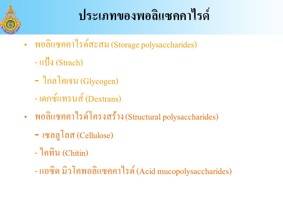 ประเภทของพอลิแซคคาไรด์ พอลิแซคคาไรด์สะสม (Storage polysaccharides) - แป้ง (Strach) - ไกลโคเจน (Glycogen) - เดกซ์แทรนส์ (Dextrans) พอลิแซคคาไรด์โครงสร้าง (Structural polysaccharides) - เซลลูโลส (Cellulose) - ไคทิน (Chitin) - แอซิด มิวโคพอลิแซคคาไรด์ (Acid mucopolysaccharides)