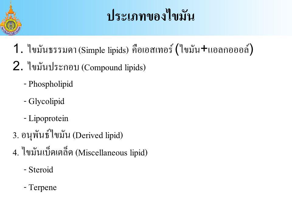1.ไขมันธรรมดา (Simple lipids) คือเอสเทอร์ (ไขมัน+แอลกอออล์) 2.