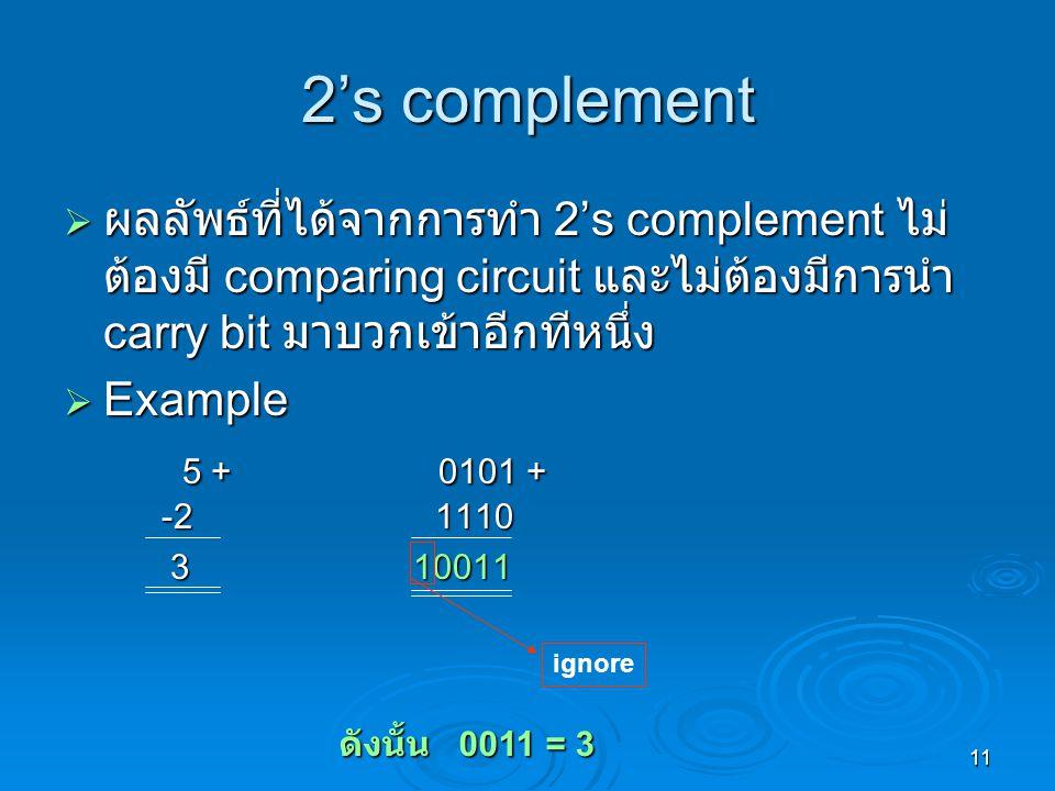 11 2's complement  ผลลัพธ์ที่ได้จากการทำ 2's complement ไม่ ต้องมี comparing circuit และไม่ต้องมีการนำ carry bit มาบวกเข้าอีกทีหนึ่ง  Example 5 + 0101 + -2 1110 5 + 0101 + -2 1110 3 10011 3 10011 ignore ดังนั้น 0011 = 3