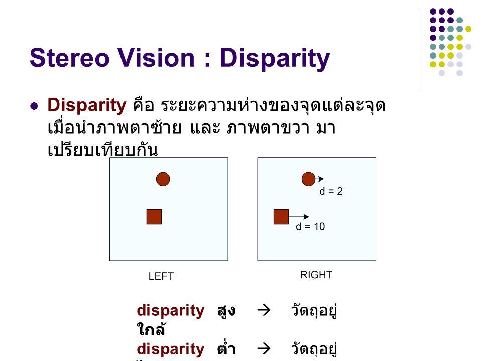 Stereo Vision : Disparity Disparity คือ ระยะความห่างของจุดแต่ละจุด เมื่อนำภาพตาซ้าย และ ภาพตาขวา มา เปรียบเทียบกัน disparity สูง  วัตถุอยู่ ใกล้ disp