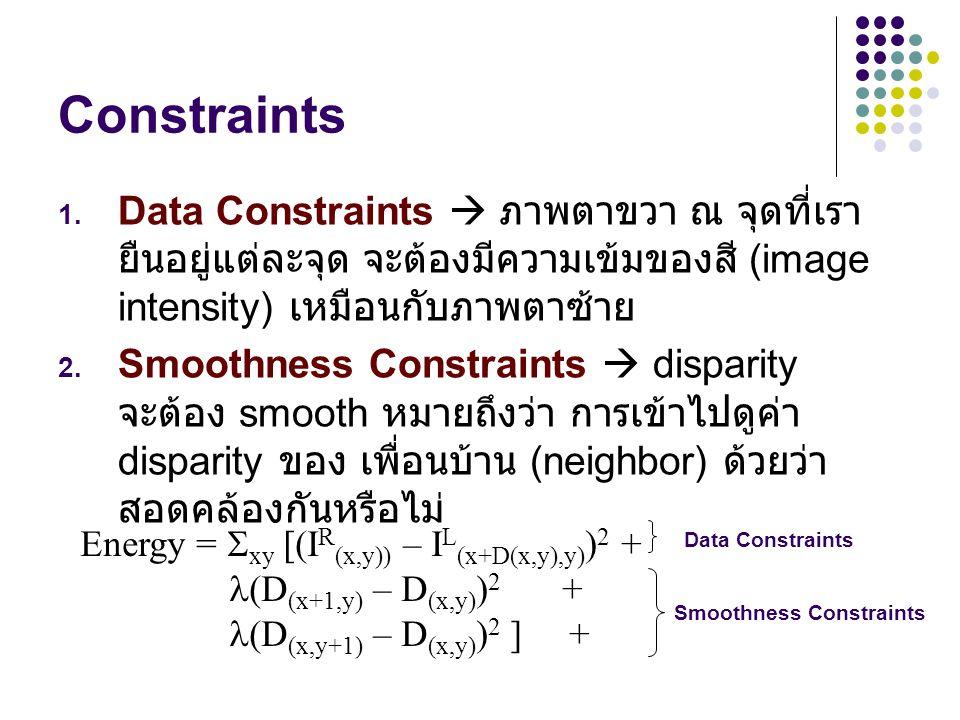 Constraints 1. Data Constraints  ภาพตาขวา ณ จุดที่เรา ยืนอยู่แต่ละจุด จะต้องมีความเข้มของสี (image intensity) เหมือนกับภาพตาซ้าย 2. Smoothness Constr