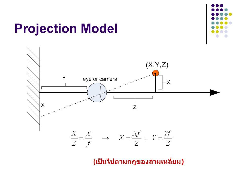 Perspective Projection Model ดังนั้น disparity สูง วัตถุอยู่ใกล้ตา disparity ต่ำ วัตถุไกลตา B = distance between two cameras or eyes f  ระยะห่างจากกล้องไปฉากหลัง Z  ระยะห่างจากกล้องไปยังวัตถุ B  ระยะห่างระหว่างกล้องซ้ายและขวา X  ระยะห่างของวัตถุจากแกน X xl  ระยะห่างของวัตถุที่สะท้อนฉากหลังของกล้องซ้าย xr  ระยะห่างของวัตถุที่สะท้อนฉากหลังของกล้องขวา