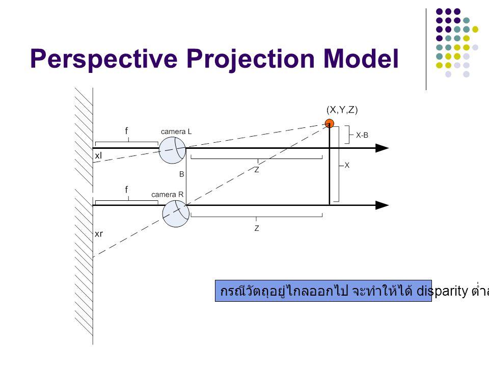 Perspective Projection Model กรณีวัตถุอยู่ไกลออกไป จะทำให้ได้ disparity ต่ำลง