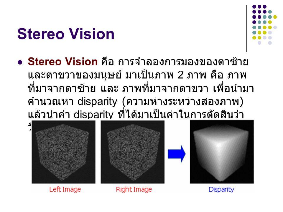 Stereo Vision การมองจากสองตาของมนุษย์ ไปยังวัตถุ สี่เหลี่ยมลูกบาศก์เลื่อนไปทางขวาเมื่อมองด้วยตาซ้าย สี่เหลี่ยมลูกบาศก์เลื่อนไปทางซ้ายเมื่อมองด้วยตาขวา ภาพจากมองด้วยตาทั้งสองข้างรวมกัน ภาพแสดงความลึกของวัตถุแสดงด้วย Gray Scale Dept Map